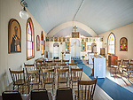 Interior, St. Basil of Ostrog Serbian Orthodox Church, founded 1910 and opened for two-three liturgies each year, Angels Camp, Calif.