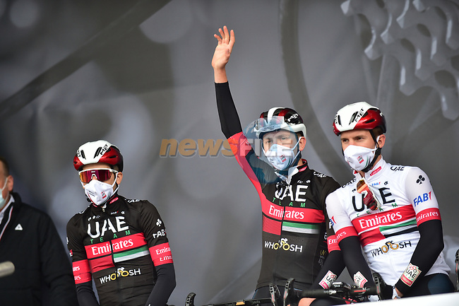Tadej Pogacar (SLO) and UAE Team Emirates at sign on before Liege-Bastogne-Liege 2020, running 257km from Liege to Liege, Belgium. 4th October 2020.<br /> Picture: ASO/Gautier Demouveaux   Cyclefile<br /> All photos usage must carry mandatory copyright credit (© Cyclefile   ASO/Gautier Demouveaux)