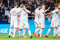 Spain Sergio Ramos, Francisco Alarcon 'Isco', Marco Asensio and Andres Iniesta celebrating a goal during friendly match between Spain and Argentina at Wanda Metropolitano in Madrid , Spain. March 27, 2018. (ALTERPHOTOS/Borja B.Hojas) /NortePhoto.com NORTEPHOTOMEXICO