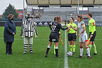 Chloe Van Mingeroet (17) of Eendracht Aalst , referee Irmgard Van Meirevenne , Lenie Onzia (8) of OHL and assistant referee Michele Seeldrayers pictured during a female soccer game between Eendracht Aalst and OHL on the 13 th matchday of the 2020 - 2021 season of Belgian Scooore Womens Super League , Saturday 6 th of February 2021  in Aalst , Belgium . PHOTO SPORTPIX.BE   SPP   STIJN AUDOOREN
