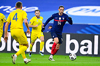 24th March 2021; Stade De France, Saint-Denis, Paris, France. FIFA World Cup 2022 qualification football; France versus Ukraine;  Adrien Rabiot (France) takes on Kryvtsov of Ukraine