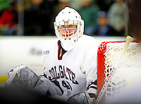 2 January 2009: Colgate Raiders' goaltender Charles Long, a Junior from Cleveland Heights, OH, in action against the University of Vermont Catamounts during the second game of the 2009 Catamount Cup Ice Hockey Tournament hosted by the University of Vermont at Gutterson Fieldhouse in Burlington, Vermont. The Catamounts defeated the Raiders 6-4 to move onto the championship game against the St. Lawrence Saints...Mandatory Photo Credit: Ed Wolfstein Photo