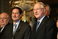 Montreal (Qc) CANADA - 2011 File Photo -<br /> Michael Applebaum<br /> (L), Gerald Tremblay (R)<br />  - Michael Applebaum is one of the possible replacement of Mayor Gerald Tremblay who resigned November 5, 2012.