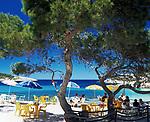 Spanien, Balearen, Ibiza (Eivissa), Portinatx: Strand Petit S'Arenal, Cafe | Spain, Balearic Islands, Ibiza (Eivissa), Portinatx: beach Petit S'Arenal, Cafe
