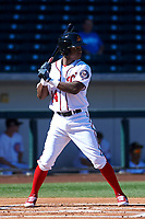 Mesa Solar Sox designated hitter Victor Robles (14), of the Washington Nationals organization, at bat during an Arizona Fall League game against the Scottsdale Scorpions on October 24, 2017 at Sloan Park in Mesa, Arizona. The Scorpions defeated the Solar Sox 3-1. (Zachary Lucy/Four Seam Images)