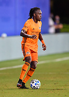 LAKE BUENA VISTA, FL - JULY 18: Alberth Elis #7 of the Houston Dynamo looks for options during a game between Houston Dynamo and Portland Timbers at ESPN Wide World of Sports on July 18, 2020 in Lake Buena Vista, Florida.