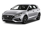 2020 Hyundai i30 Techno 5 Door Hatchback Angular Front automotive stock photos of front three quarter view