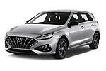 2020 Hyundai i30 Techno 5 Door Hatchback Angular Front automotive stock photos of front three quarter view