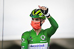 Green Jersey Julian Alaphilippe (FRA) Deceuninck-Quick Step at sign on before Stage 3 of the 2021 Tour de France, running 182.9km from Lorient to Pontivy, France. 28th June 2021.  <br /> Picture: A.S.O./Pauline Ballet | Cyclefile<br /> <br /> All photos usage must carry mandatory copyright credit (© Cyclefile | A.S.O./Pauline Ballet)