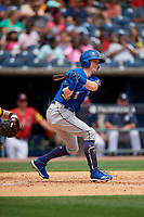 Durham Bulls Jake Cronenworth (1) at bat during an International League game against the Toledo Mud Hens on July 16, 2019 at Fifth Third Field in Toledo, Ohio.  Durham defeated Toledo 7-1.  (Mike Janes/Four Seam Images)