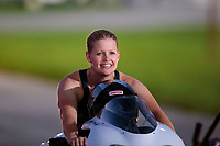 Sep 1, 2019; Clermont, IN, USA; NHRA pro stock motorcycle rider Kelly Clontz during qualifying for the US Nationals at Lucas Oil Raceway. Mandatory Credit: Mark J. Rebilas-USA TODAY Sports