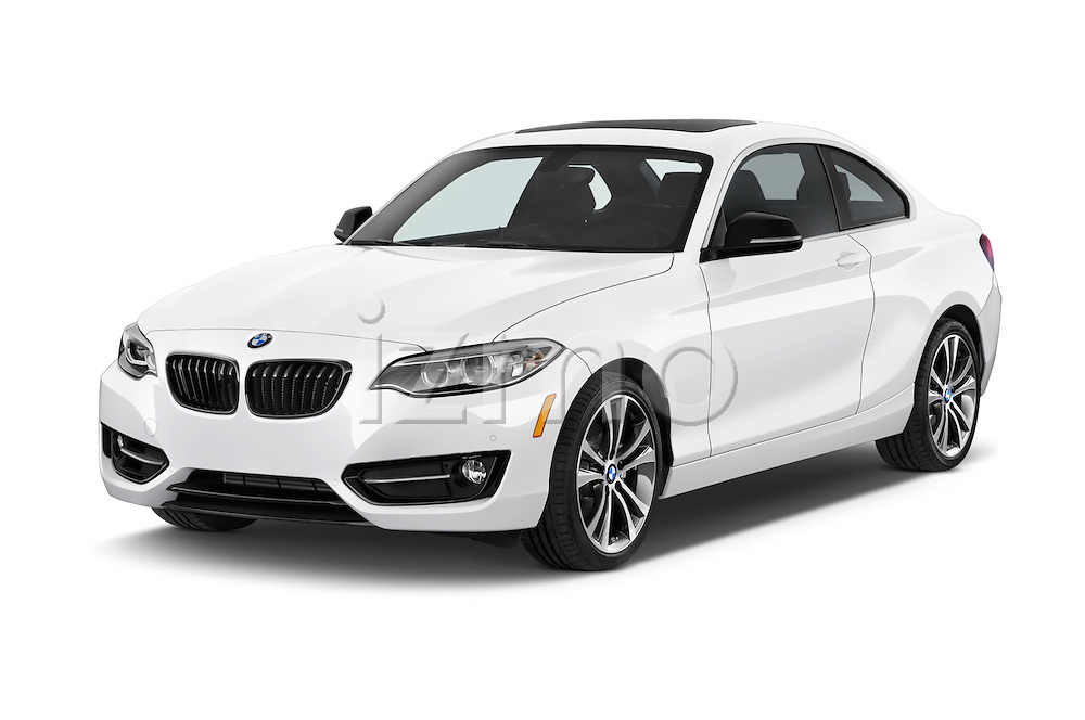 2017 BMW 2-Series 230i 2 Door Coupe Angular Front stock photos of front three quarter view