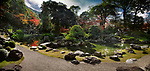 Panoramic scenery of a traditional Japanese Zen rock garden with a pond and bridges leading to islands Kameshima and Tsurushima with white pine trees. Sanbo-in, Sanboin Buddhist temple, a sub-temple of Daigo-ji temple, Daigoji complex in Fushimi-ku, Kyoto, Japan 2017 Image © MaximImages, License at https://www.maximimages.com