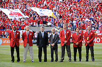 Hall of Fame inductees (L to R in red) Eddie Pope, Bob Gansler, Bruce Murray, Cobi Jones and Earnie Stewart, stand with Spanish Football Federation president Angel Maria , and US Soccer President Sunil Gulati prior to the start of the game. The men's national team of Spain (ESP) defeated the United States (USA) 4-0 during a International friendly at Gillette Stadium in Foxborough, MA, on June 04, 2011.