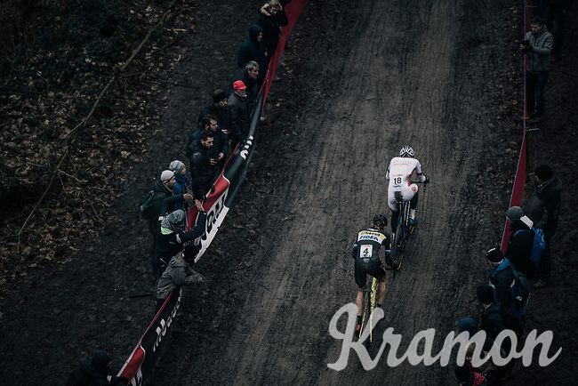 Mathieu van der Poel (NED/Beobank-Corendon) vs Toon Aerts (BEL/Telenet Fidea Lions) in pursuit of Wout Van Aert<br /> <br /> Elite Men's race<br /> UCI CX World Cup Namur / Belgium 2017