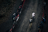 Mathieu van der Poel (NED/Beobank-Corendon) vs Toon Aerts (BEL/Telenet Fidea Lions) in pursuit of Wout Van Aert<br /> <br /> Elite Men's race<br /> UCI CX World Cup Namur / Belgium 2017