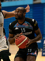 Tayo Ogedengbe of Surrey Scorchers during the BBL Championship match between Surrey Scorchers and Newcastle Eagles at Surrey Sports Park, Guildford, England on 20 March 2021. Photo by Liam McAvoy.