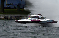 """Regates de Valleyfield, 6-8 July,2001 Salaberry de Valleyfield, Quebec, Canada.Copyright©F.Peirce Williams 2001.CE-7 """"Joker"""", 5 Litre class hydroplane.F. Peirce Williams .photography.P.O.Box 455  Eaton, OH 45320.p: 317.358.7326  e: fpwp@mac.com"""