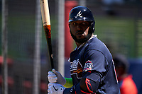 Atlanta Braves Marcell Ozuna (20) on deck during a Major League Spring Training game against the Boston Red Sox on March 7, 2021 at CoolToday Park in North Port, Florida.  (Mike Janes/Four Seam Images)