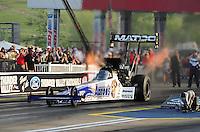 Jun. 17, 2011; Bristol, TN, USA: NHRA top fuel driver Antron Brown during qualifying for the Thunder Valley Nationals at Bristol Dragway. Mandatory Credit: Mark J. Rebilas-