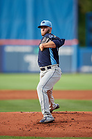 Charlotte Stone Crabs starting pitcher Brandon Lawson (25) delivers a pitch during the first game of a doubleheader against the St. Lucie Mets on April 24, 2018 at First Data Field in Port St. Lucie, Florida.  St. Lucie defeated Charlotte 5-3.  (Mike Janes/Four Seam Images)