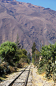 Urubamba Valley, Peru. Machu Pichu Railway - railway lines/trucks; mountains; cacti.
