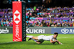 Callum Sirker of England dives to score during their Pool C match between England and Scotland as part of the HSBC Hong Kong Rugby Sevens 2018 on 06 April 2018, in Hong Kong, Hong Kong. Photo by Marcio Rodrigo Machado / Power Sport Images