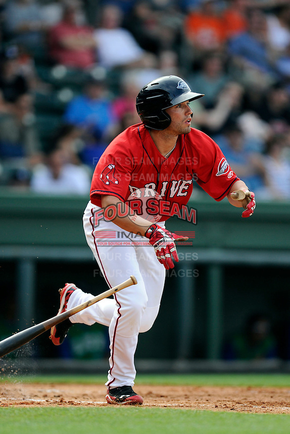 Right fielder Bo Greenwell (31) of the Greenville Drive bats in a game against the Lexington Legends on Sunday, April 27, 2014, at Fluor Field at the West End in Greenville, South Carolina. Greenville won, 21-6. (Tom Priddy/Four Seam Images)
