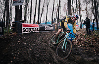 Wout van Aert (BEL/Jumbo-Visma) leading the muddy X2O Herentals Cross 2020, Belgium<br /> <br /> ©kramon
