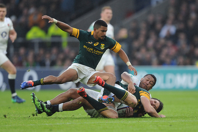 Rudy Paige of South Africa adds his weight as Mako Vunipola of England and Franco Mostert of South Africa battle over a loose ball during the Old Mutual Wealth Series match between England and South Africa at Twickenham Stadium on Saturday 12th November 2016 (Photo by Rob Munro)