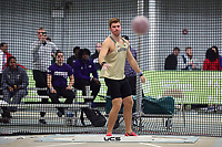 WINSTON-SALEM, NC - FEBRUARY 08: Connor Mathis of Wake Forest University watches his throw in the Men's Shot Put at JDL Fast Track on February 08, 2020 in Winston-Salem, North Carolina.