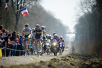 111th Paris-Roubaix 2013..Mathew Hayman (AUS) & Stuart O'Grady (AUS) leading the peloton through the Trouée d'Arenberg.