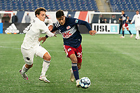FOXBOROUGH, MA - OCTOBER 09: Blaine Ferri #8 of Fort Lauderdale CF and Nicolas Firmino #29 of New England Revolution II compete for the ball during a game between Fort Lauderdale CF and New England Revolution II at Gillette Stadium on October 09, 2020 in Foxborough, Massachusetts.