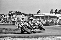 Mike Baldwin, #1F Yamaha, leads Fred Merkel, #1 Honda, Daytona 200, AMA Superbikes, Daytona International Speedway, Daytona Beach, FL, March 9, 1986.(Photo by Brian Cleary/bcpix.com)