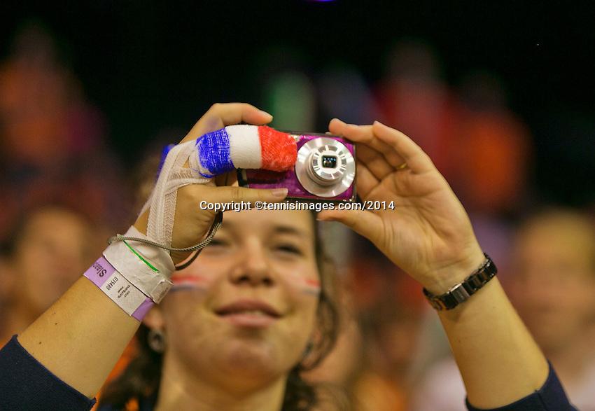 September 13, 2014, Netherlands, Amsterdam, Ziggo Dome, Davis Cup Netherlands-Croatia, Doubles, Supporter with national flag on her bandage<br /> Photo: Tennisimages/Henk Koster