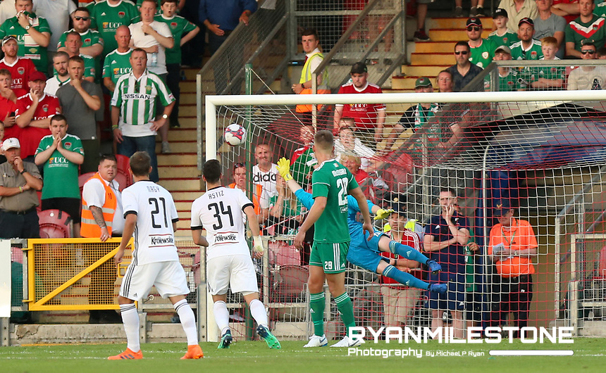 Michał Kucharczyk (out of picture) of Legia Warsaw scores a goal despite the efforts of Peter Cherrie of Cork City <br /> during the UEFA Champions League First Qualifying Round First Leg between Cork City and Legia Warsaw on Tuesday 10th July 2018 at Turners Cross, Cork. Photo By Michael P Ryan