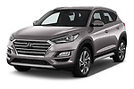 2019 Hyundai Tucson Inspire 5 Door SUV Angular Front stock photos of front three quarter view