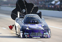 Apr 26, 2014; Baytown, TX, USA; NHRA funny car driver Jack Beckman during qualifying for the Spring Nationals at Royal Purple Raceway. Mandatory Credit: Mark J. Rebilas-