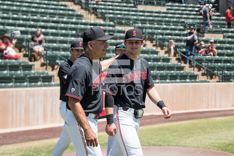 STANFORD, CA - MAY 29: David Esquer, Tim Tawa before a game between Oregon State University and Stanford Baseball at Sunken Diamond on May 29, 2021 in Stanford, California.