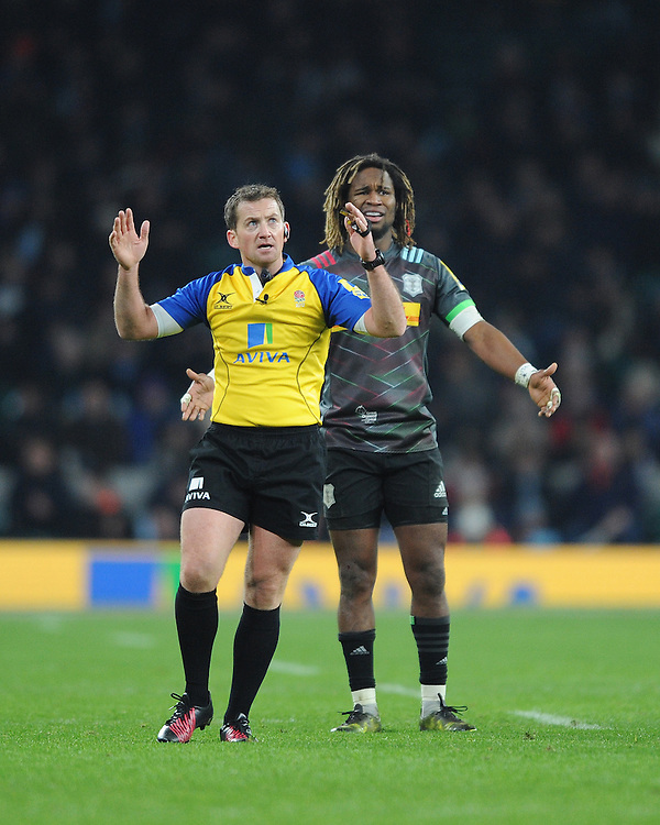 Marland Yarde of Harlequins appears perplexed by a decision by Referee JP Doyle of Ireland during the Aviva Premiership Rugby match between Harlequins and Gloucester Rugby at Twickenham Stadium on Tuesday 27th December 2016 (Photo by Rob Munro/Stewart Communications)
