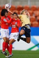 Amber Brooks (USA) jumps for the ball..FIFA U17 Women's World Cup, USA v Korea Republic, Waikato Stadium, Hamilton, New Zealand, Sunday 9 November 2008. Photo: Renee McKay/PHOTOSPORT