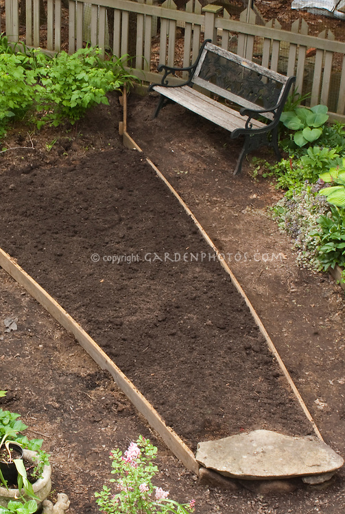 New raised bed for planting in shade soil view from roof