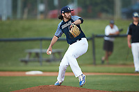 Carolina Venom starting pitcher TJ McEvilly (17) (Southern Wesleyan) in action against the Mooresville Spinners at Moor Park on June 22, 2020 in Mooresville, NC.  The Spinners defeated the Venom 7-2. (Brian Westerholt/Four Seam Images)