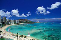 Diamond head and Waikiki beach view with sailboats, Oahu