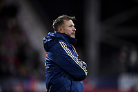 COLUMBUS, OH - NOVEMBER 07: Peter Gerhardsson manager of Sweden's women's national team during a game between Sweden and USWNT at MAPFRE Stadium on November 07, 2019 in Columbus, Ohio.