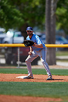 Tampa Bay Rays first baseman Zach Rutherford (14) during a Minor League Spring Training game against the Boston Red Sox on March 25, 2019 at the Charlotte County Sports Complex in Port Charlotte, Florida.  (Mike Janes/Four Seam Images)