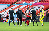31st October 2020; Bramall Lane, Sheffield, Yorkshire, England; English Premier League Football, Sheffield United versus Manchester City; Sheffield United Manager Chris Wilder shakes hands with the officials after the final whistle