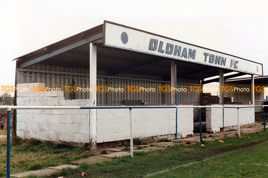 General view of Oldham Town Football Club (location for filming the football scenes in the BBC children's comedy drama Jossy's Giants), off Middleton Road, Chadderton, Oldham, Greater Manchester, pictured on 7th March 1993