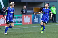 Portland, OR - Saturday May 06, 2017: Jess Fishlock, Nahomi Kawasumi celebrate during a regular season National Women's Soccer League (NWSL) match between the Portland Thorns FC and the Chicago Red Stars at Providence Park.