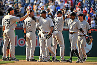 16 June 2012: The New York Yankees celebrate a victory over the Washington Nationals at Nationals Park in Washington, DC. The Yankees defeated the Nationals in 14 innings by a score of 5-3, taking the second game of their 3-game series. Mandatory Credit: Ed Wolfstein Photo
